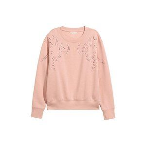 H&M Women's Embroidered Sweater Pink Size Large